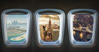 Zicht op steden vanuit vliegtuig