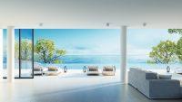 Huiskamer met uitzicht op zee
