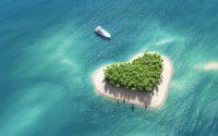 Bootje bij een hart eilandje - leef het leven waar je voor geboren bent.